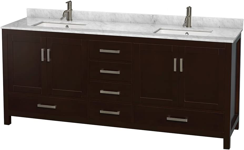Wyndham Collection Sheffield 80 inch Double Bathroom Vanity in Espresso, White Carrara Marble Countertop, Undermount Square Sinks, and No Mirror