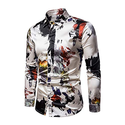 - lisenraIn Men's Button Down Shirts Long Sleeve Slim Fit Cotton Floral Print Casual Shirt (Style-C, L)