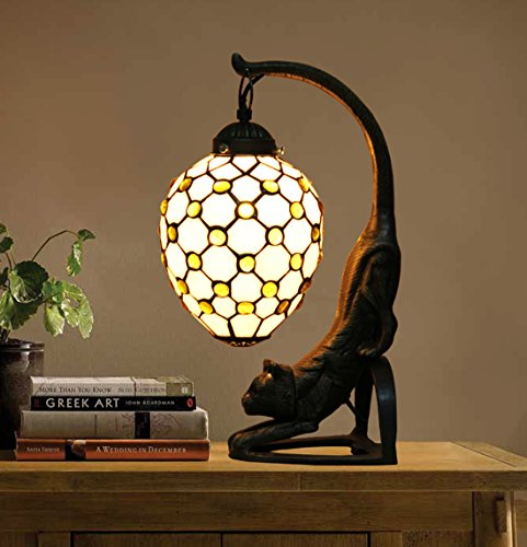 Makenier Vintage Tiffany Style Stained Glass White Bead Pattern Table Lamp with Cat Base, 6 Inches Closed - White Cat Tiffany