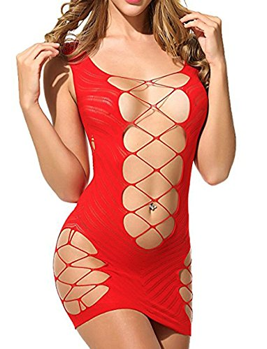 Vorifun Women Fishnet Lingerie See Through Sleepwear One Piece V-Neck Babydoll Mini Dress One Size (Red 4)