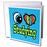 3dRose Dooni Designs Eye Heart I Love Designs - Bright Eye Heart I Love Studying - 12 Greeting Cards with envelopes (gc_106577_2)