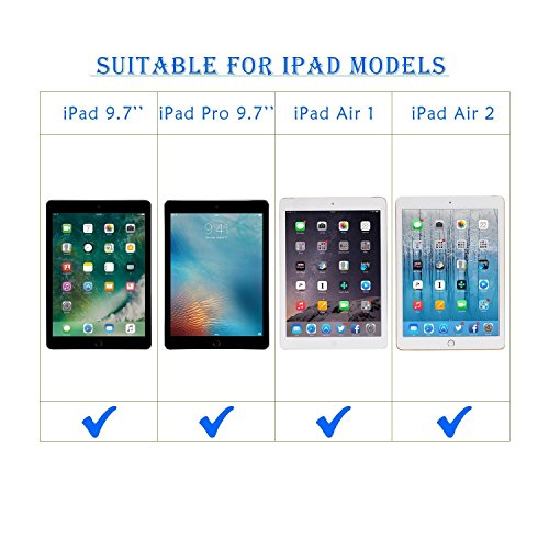 iPad 9.7 Keyboard Case (2017)/ iPad Pro 9.7 keyboard case, PEYOU Detachable Wireless Bluetooth ABS Keyboard with Magnetic Muti-angle Folio PU Leather Case for Apple iPad 9.7/iPad Pro 9.7/iPad Air 1/2
