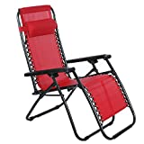Folding Zero Gravity Lounge Patio Chair with Pillows Portable Beach Camping Outdoor Chaise Chair (US Stock) (Red)