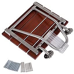 Folding Shower Chair Wall Mount Bath Seat Bench Solid Wood Construction