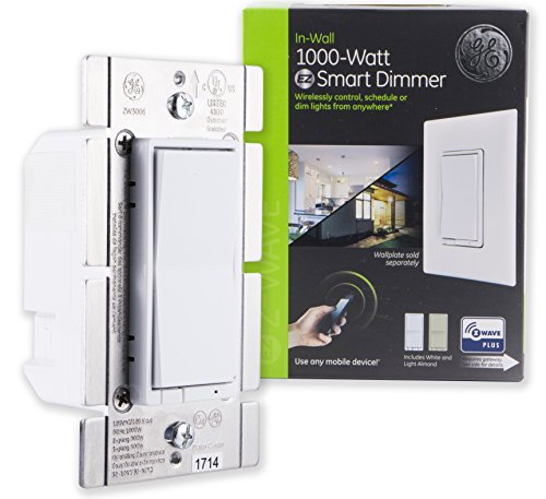 GE Enbrighten Z-Wave Plus 1000W Smart Dimmer Switch, for Incandescent/Halogen Bulbs ONLY, Incl. White & Lt. Almond Paddles, Zwave Hub Required, Works with SmartThings, Wink, Alexa, 14299, Multi