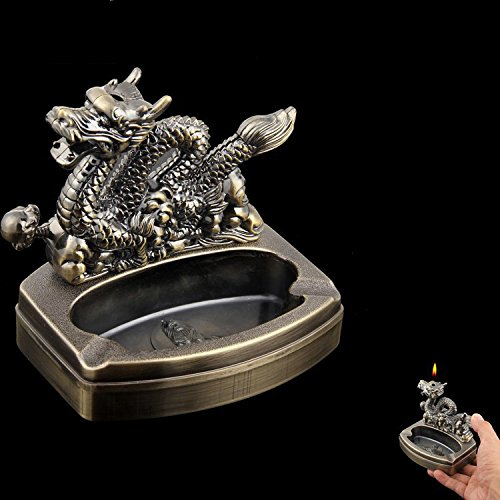 Dragon Shaped Novelty Cigarette Cigar Lighter Refillable Butane Gas Lighter with Ashtray Ash Tray