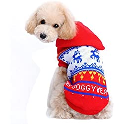 Mikey Store Christmas Pet Dog Red Deer Pet Sweater with Hood Warm Cute Sweater Clothes (Red, XS)
