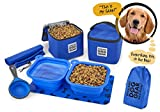 Dog Travel Food Set For Medium + Large Dogs (Blue) - 7 Pieces Including Collapsible Bowls, Carriers, Scooper, Place Mat, Bag
