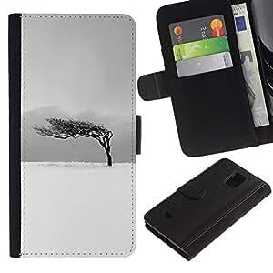 UberTech / Samsung Galaxy S5 Mini, SM-G800, NOT S5 REGULAR! / Winter Black White Tree Wind Clean / Cuero PU Delgado caso Billetera cubierta Shell Armor Funda Case Cover Wallet Credit Card