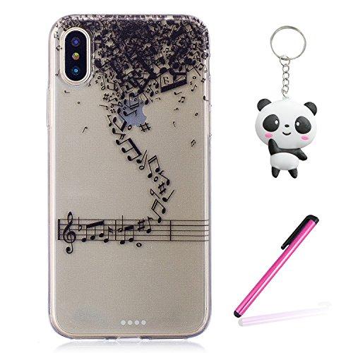 Coque iPhone X Note musicale Premium Gel TPU Souple Silicone Transparent Clair Bumper Protection Housse Arrière Étui Pour Apple iPhone X / iPhone 10 (2017) 5.8 Pouce Avec Deux cadeau
