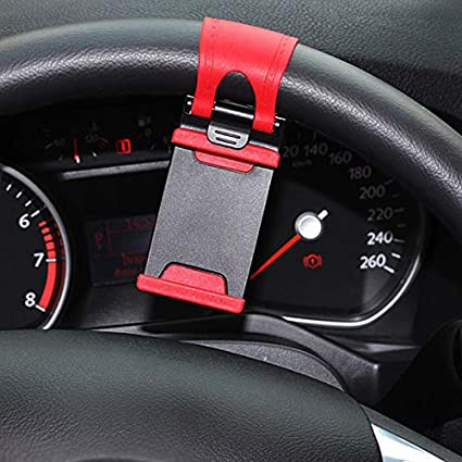 Alicedreamland Auto Lenkrad Clip Auto Lenkrad Handyhalter Autoteile,red