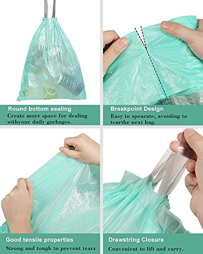 Small Trash Bags 4 Gallon Drawstring Trash Bags,AYOTEE 50 Counts Ultra Strong Unscented Garbage Bags Small Trash Bags Waste Basket Liners for Bathroom, Kitchen ,Bedroom, Office, Pet, Car