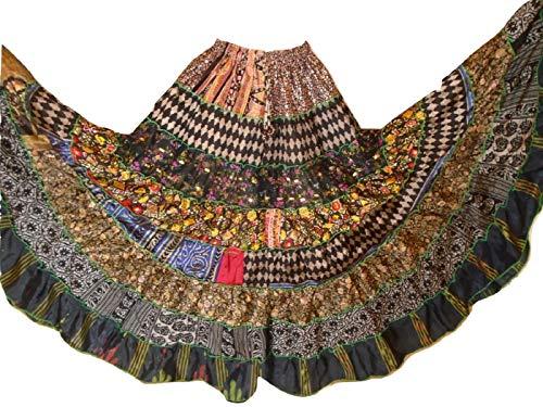 Tribal Bangara Folk 9 Yard Gypsy Maxi Tiered Skirt Belly Dancing Skirts Silk Blend M L (K61)