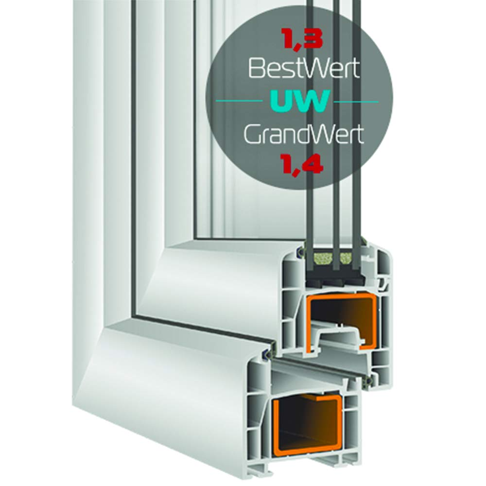 Premium BxH: 45x55 cm DIN Rechts wei/ß Breite: 45 cm x H/öhe: Alle Gr/ö/ßen Dreh-Kipp Kellerfenster 3fach-Verglasung Kunststofffenster Fenster
