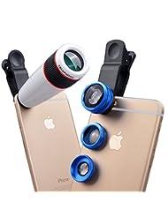 Apexel 4 in 1 Camera Lens 12x White Telephoto Lens/ Blue Fish...