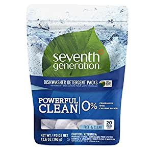 Seventh Generation Natural Dishwasher Detergent Packs, Free and Clear, 20ct, Packaging May Vary