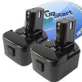 (US) 2-Pack Hitachi 12V Battery Replacement - Compatible with Hitachi DS12DVF3, EB1214S, DS 12DVF3, DS12DVF, EB1212S, WH12DAF2, DS12DM, WH 12DMR, DS12DVF2, DS12DVB2, DS12DV, DS 12DM, WR12DM2, WR 12DM2, DN12DYK, DN12DY, DH15DV, WR 12DMR (1300mAh, NICD)