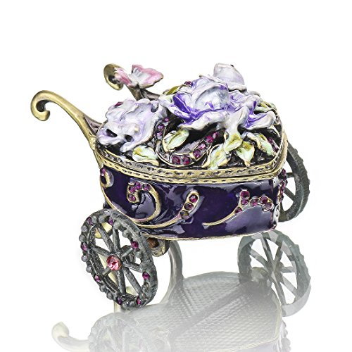 - YUFENG Flower Pattern Hinged Trinket Box Hand-painted Patterns Trinket Bejeweled Ornamental Box Collectible (festooned vehicle)
