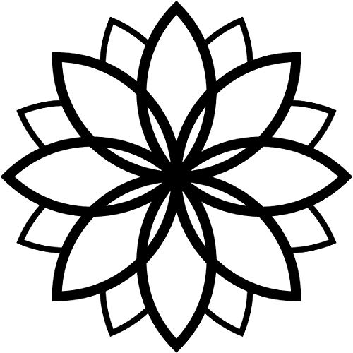 Simple Black and White Geometric Flower Art Icon Vinyl Sticker, Daisy Layer Petal