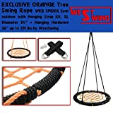 24'' EXCLUSIVE ORANGE Tree Swing Rope WEB SPIDER Seat outdoor with Hanging Strap Kit, XL Diameter 24'' + Hanging Hardware 36'' up to 215 lbs by WestSwing