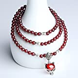 TimeBetter Lady's Bracelet Natural Garnet Three laps Diameter4.0-4.2mm(Each Bracelet Has Certificate of Identification,with 2 Beads Prepared,a Length of Rope Prepared)