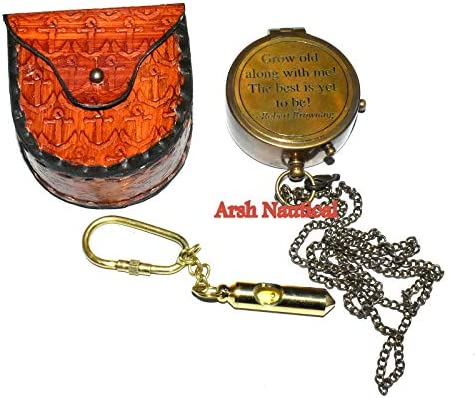 Directional Grow Old with ME Engraved Brass Compass ON Chain with Leather CASE