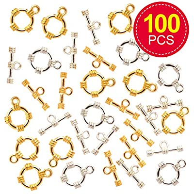 Baker Ross Gold- & Silver-Plated Toggle Clasps, Arts and Crafts for Kids (Pack of 100): Toys & Games