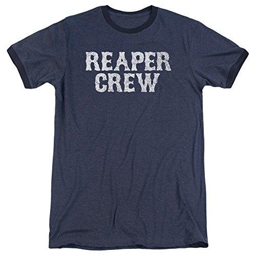 Sons Of Anarchy Mens Reaper Crew Ringer T-Shirt, Medium, Navy (Reaper Ringer T-shirt)