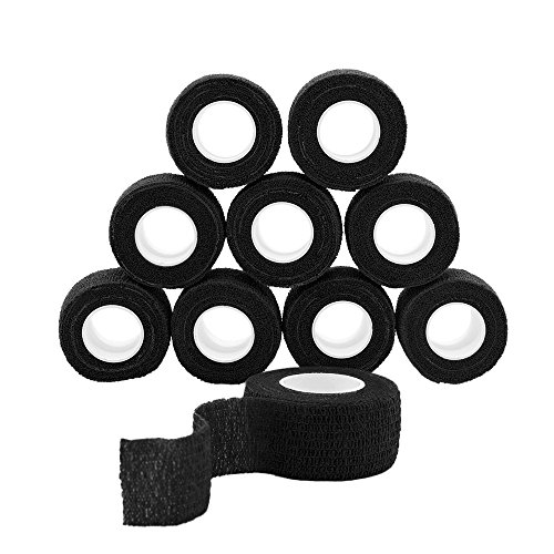 GooGou Self Adherent Wrap Bandages Self Adhering Cohesive Tape Elastic Athletic Sports Tape for Sports Sprain Swelling and Soreness on Wrist and Ankle 10PCS 1 in X 14.7 ft (black) (Self Elastic Adhering)