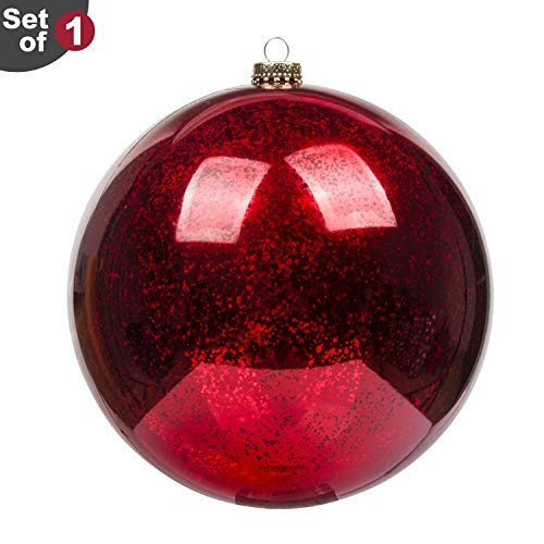 (KI Store Large Christmas Ball Ornament Red Oversize Decorative Hanging Decoration Mercury Ball 8 Inch Shatterproof Vintage for)