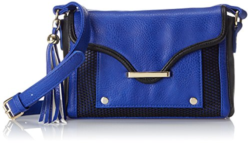 (POVERTY FLATS by rian Mesh Detail Small Cross Body Bag, Blue, One Size)