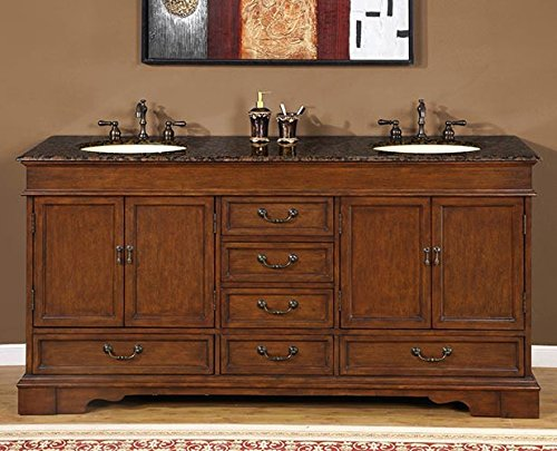 Silkroad Exclusive Bathroom Vanity HYP-0715-BB-UIC-72 Ashley 72'' by Silkroad Exclusive