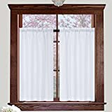 #2: Valea Home Water Repellent Tailored Tier Pair Curtains, Waffle Weave Textured Short Curtains for Bathroom, 72