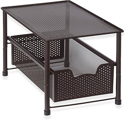 Artículos para el hogar simples apilables debajo del gabinete del fregadero que desliza el cajón del organizador de la cesta bronce