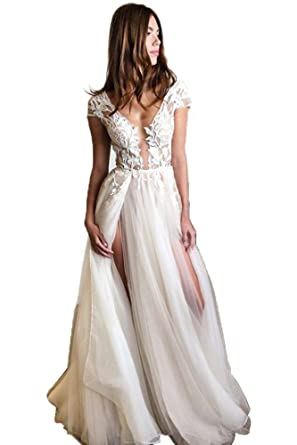Cap Sleeve Deep V-Neck Prom Dresses Long Party Dress with Appliques ...