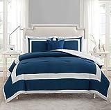 VCNY Home AVO-4CS-QUEN-IN-BLUE Avondale 4 Piece Comforter Set, Blue/White, Queen