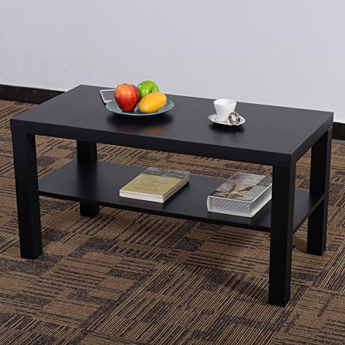 Coffee End Table Rectangle Modern Living Room Furniture W Storage Shelf Black Homegoodsreview