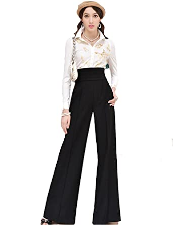 b47f04c535c9 PrettyGuide Women Vintage Office Career Slim High Waist Flare Wide Leg Long  Pants Trousers (M UK 6)  Amazon.co.uk  Clothing