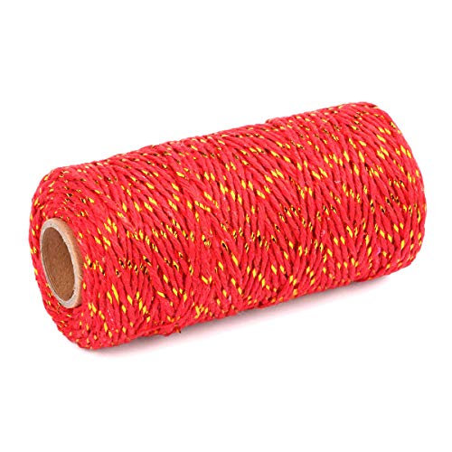 2 Roll Cotton String Rope 656 Feet Yzsfirm Gold Wire and Red 2mm Thick Bakers Twine for Crafts Bundling ()