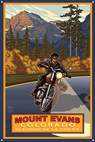 """Price comparison product image Northwest Art Mall Mt Evans Colorado Motorcycle Rider Metal Art Print by Paul A. Lanquist (12"""" x 18"""")"""