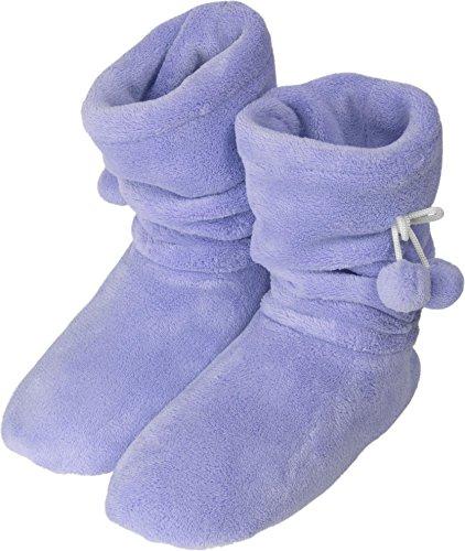 Damen-Fleece-Hausschuhe mit rutschfester Sohle und Bommeln am Schaft Lila