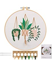 MWOOT Full Range Embroidery Starter Kit, DIY Cross Stitch Stamped Embroidery Kit for Adults Beginner Starter (Plants Flowers)