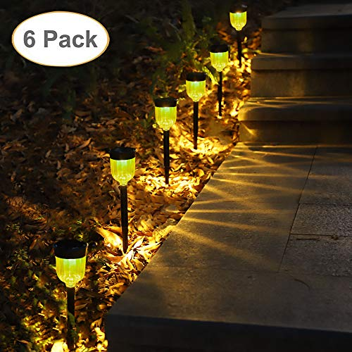 GELOO Solar Pathway Lights 6 Pack Solar Outdoor Lights Solar Garden Lights Outdoor Solar Landscape Lights Lawn, Patio, Yard, Walkway, Driveway