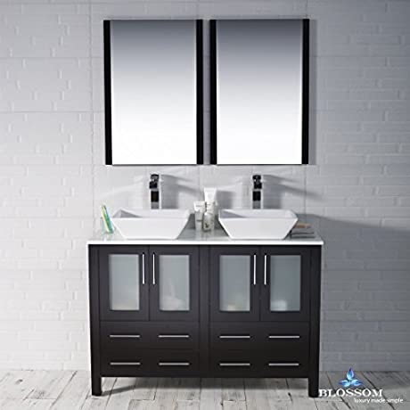 BLOSSOM 001 48 02 D 1616V Sydney 48 Double Vanity Set With Vessel Sinks And Mirrors Espresso