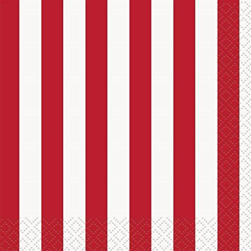 Red Striped Beverage Napkins,