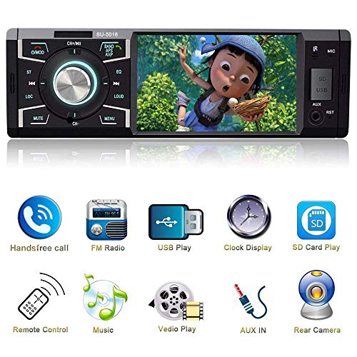 Indash Car Stereo with Bluetooth Single Din FM Radio for Car and MP5 Player USB/SD/AUX/FM Receiver Wireless Remote Control ... (1998 Chevy Silverado Single Cab For Sale)