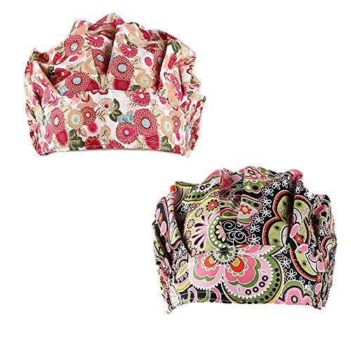 QiaTi Women Scrub Hats with Sweatband Adjustable Cotton Bouffant Cap Doctor Scrub Cap Free Size (Style Set 4)