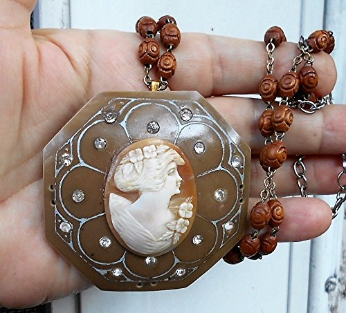 Large Flowered Shell Cameo Mounted on 1930s Celluloid Rhinestone Buckle Hanging on 30s 27