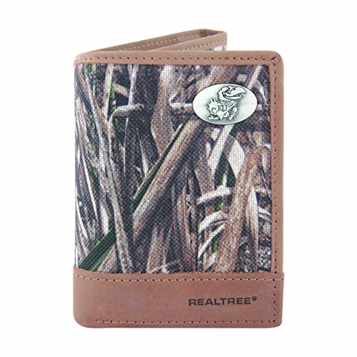 NCAA Kansas Jayhawks Zep-Pro Realtree Nylon and Leather Trifold Concho Wallet, Camouflage, One Size -