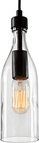 LNC Glass Pendent Lighting for Kitchen Island, Modern Farmhouse Glass Hanging Fixtures for Dining Room, 3.3 x 3.3 x 11.2